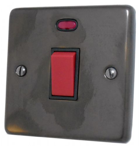 G&H CAN46B Standard Plate Polished Aged Brass 45 Amp DP Cooker Switch & Neon Single Plate
